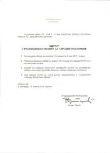 Odluka o raspisivanju parlamentarnih izbora